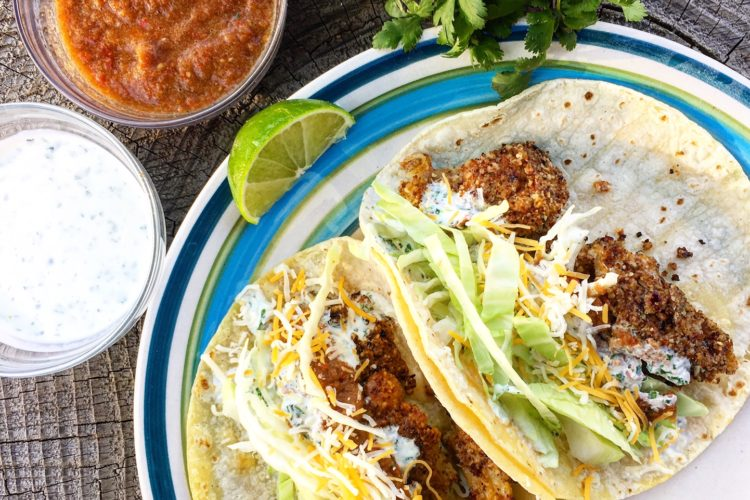 Almond battered fish tacos with creamy cilantro lime sauce for Creamy fish taco sauce
