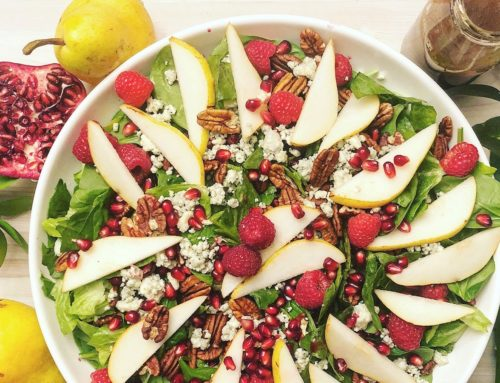Perfectly Pear, Pomegranate, Raspberry, and Gorgonzola Green Salad
