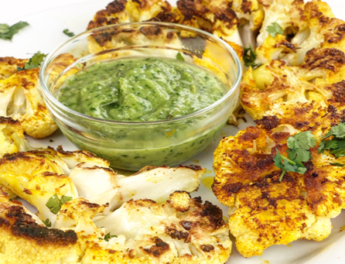 Middle Eastern Spiced Cauliflower Steaks with Cilantro Lime Avocado Sauce